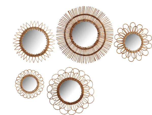 Natural Round Rattan Decorative Wall Mirror Set Set Of 5 Decorist