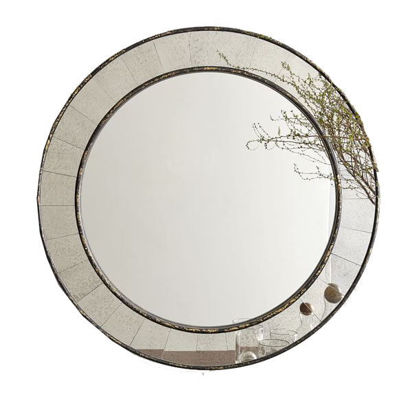 Famous Antique Tiled Round Mirror | Decorist PP51