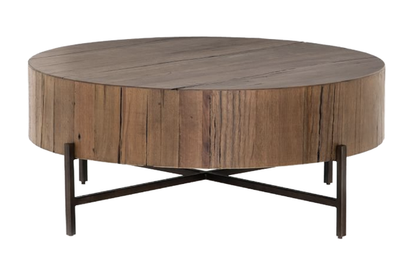 Fargo 40 Round Reclaimed Wood Coffee, Round Reclaimed Wood Coffee Table