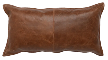 Hagedorn Stitched Details Rectangular Faux Leather Pillow Cover And Insert Brown Decorist