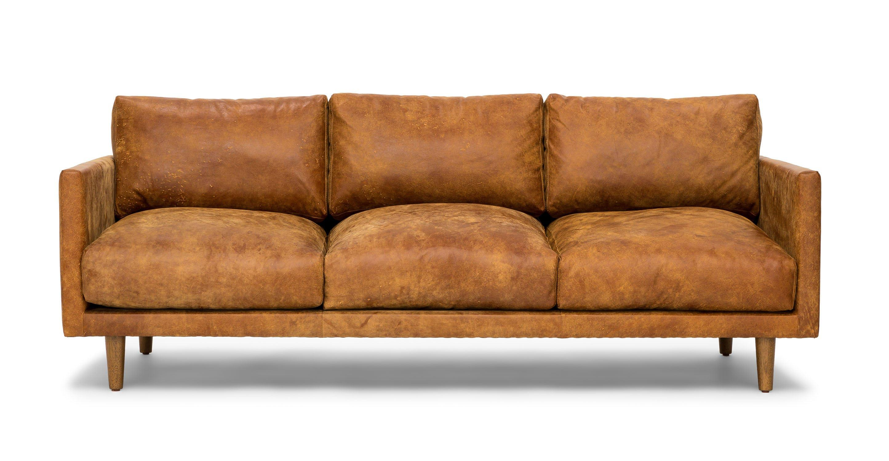 - Deep Seat Vintage Mid-Century Modern 3 Seater Leather Sofa, Cider