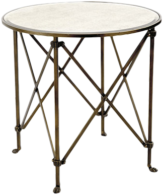 Olivia 30 Round Mirrored Side Table Antique Br