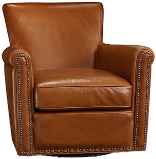 IRVING LEATHER SWIVEL ARMCHAIR WITH NAILHEADS, Stetson Chestnut | Decorist