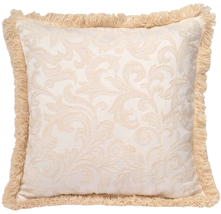 Set Of Two Washed Damask Pattern Fringed Square Soft Removable Cover