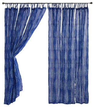 Blue Mosaic Crinkle Voile Curtains Set Of 2