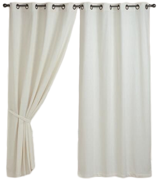 Ivory Bori Cotton Grommet Top Curtains Set Of 2