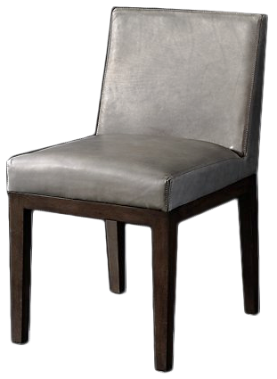38981a1d58 Morgan Track Arm Leather Side Chair, Pewter   Decorist
