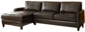 Andersen Top Grain Leather Chaise Sectional - Walnut Brown