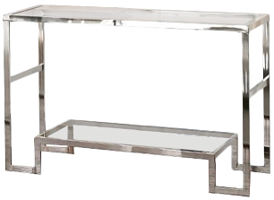 Greyson Living Cordele Chrome And Glass Sofa Table Decorist