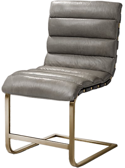 OVIEDO LEATHER SIDE CHAIR, Italian Milano Pewter With Burnished Brass  Finish | Decorist