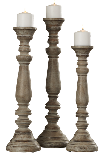 La Sarre 3 Piece Wood Candlestick Set Of 3 Decorist