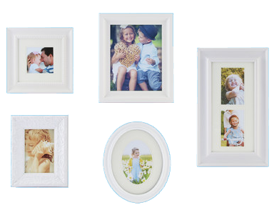 gallery solutions 5 piece picture frame set white decorist. Black Bedroom Furniture Sets. Home Design Ideas