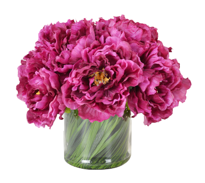 Magenta Peony Bouquet In Acrylic Water Glass Vase By House Of