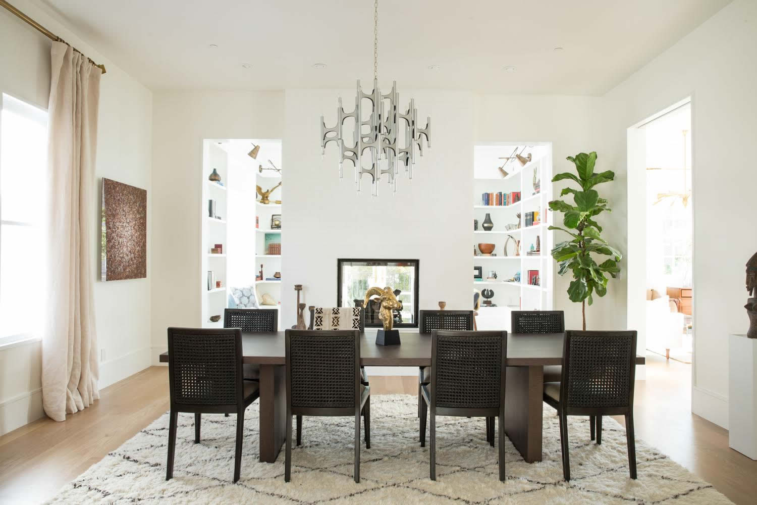 Vintage Dining Room with Black Chairs