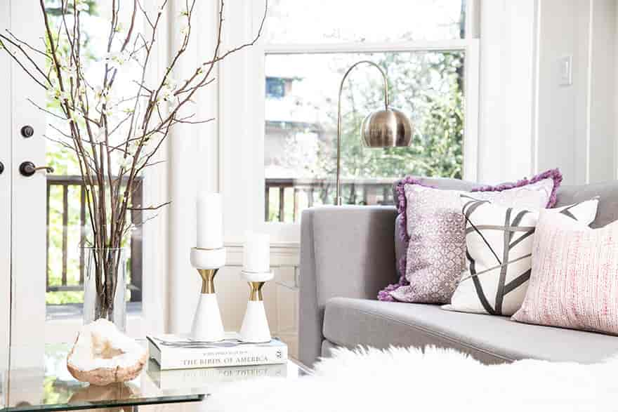 Bright Living Room With Purple Accents