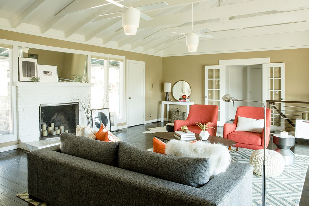 Modern and Contemporary Living Room With Coral and Orange Pops Of Color