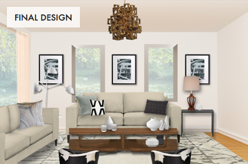 Warm and Neutral Living Room With Texture Final Design Board