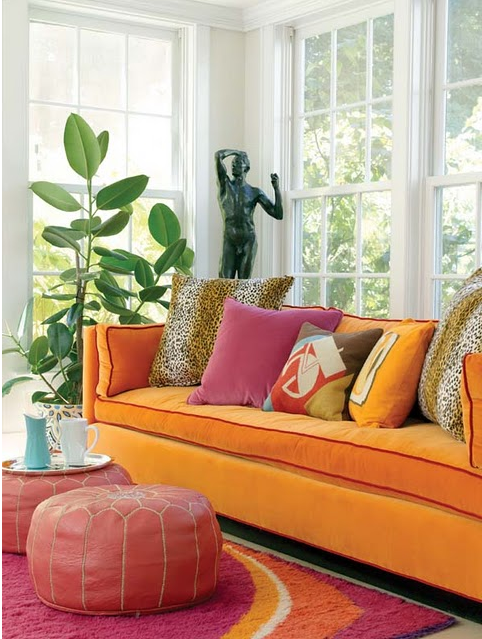 I Have A Orange Velvet Sofa In A White Walls, Dark Wood Flooring And A  Print On The Wall With Orange | Decorist